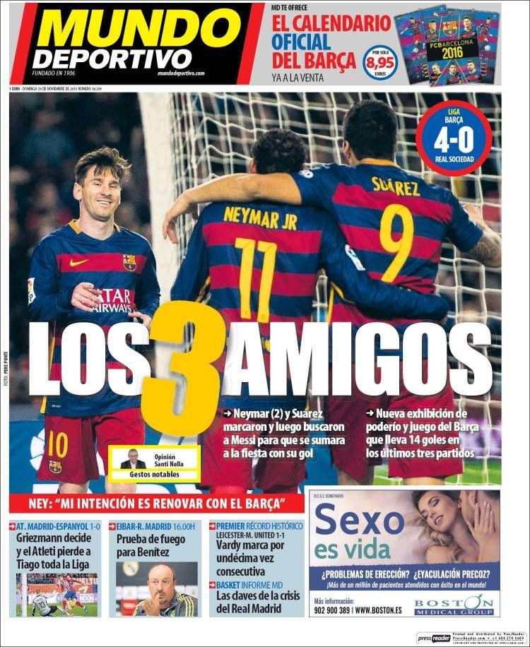 Portada Mundo Deportivo 29/11/2015 Periodico deportivo