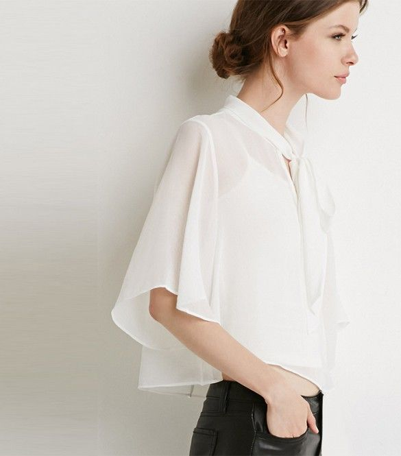 Forever 21 Self-Tie Neck Blouse