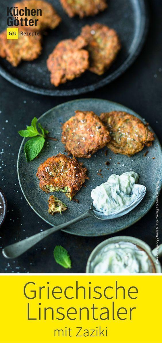 Griechische Linsentaler mit Zaziki #healthycrockpotchickenrecipes