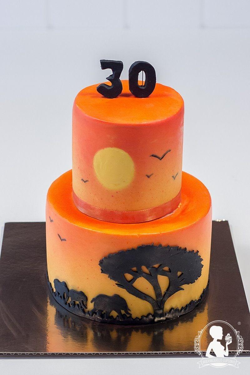 Africa Sunset Birthday Cake Airbrush And Silhouette