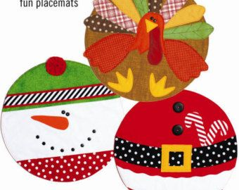 Diy Snowman Placemats Holiday Placemats 15 Round By Cotton Ginnys Santa Snowman Turkey Placemats Patterns Holiday Sewing Christmas Placemats