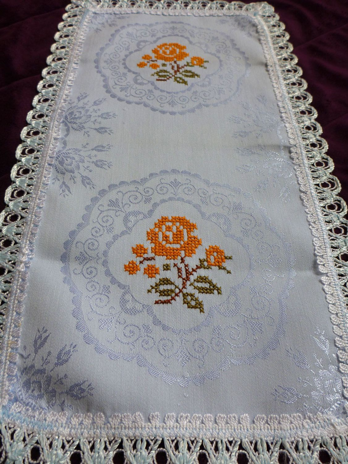 Vintage DAMASK Blue Table Runner Small Tablecloth / By Retroom