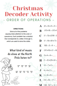 Christmas Order of Operations Practice Decoder Activity