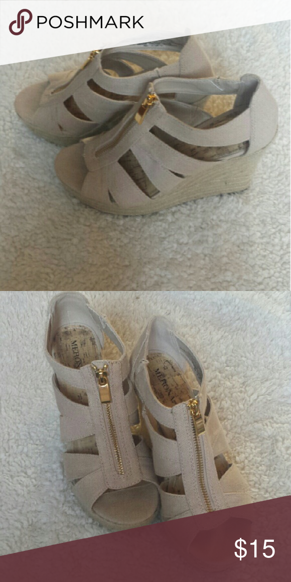 Merona zipper wedge size 7 Neutral wegdes. Worn once. Great condition Merona Shoes Wedges