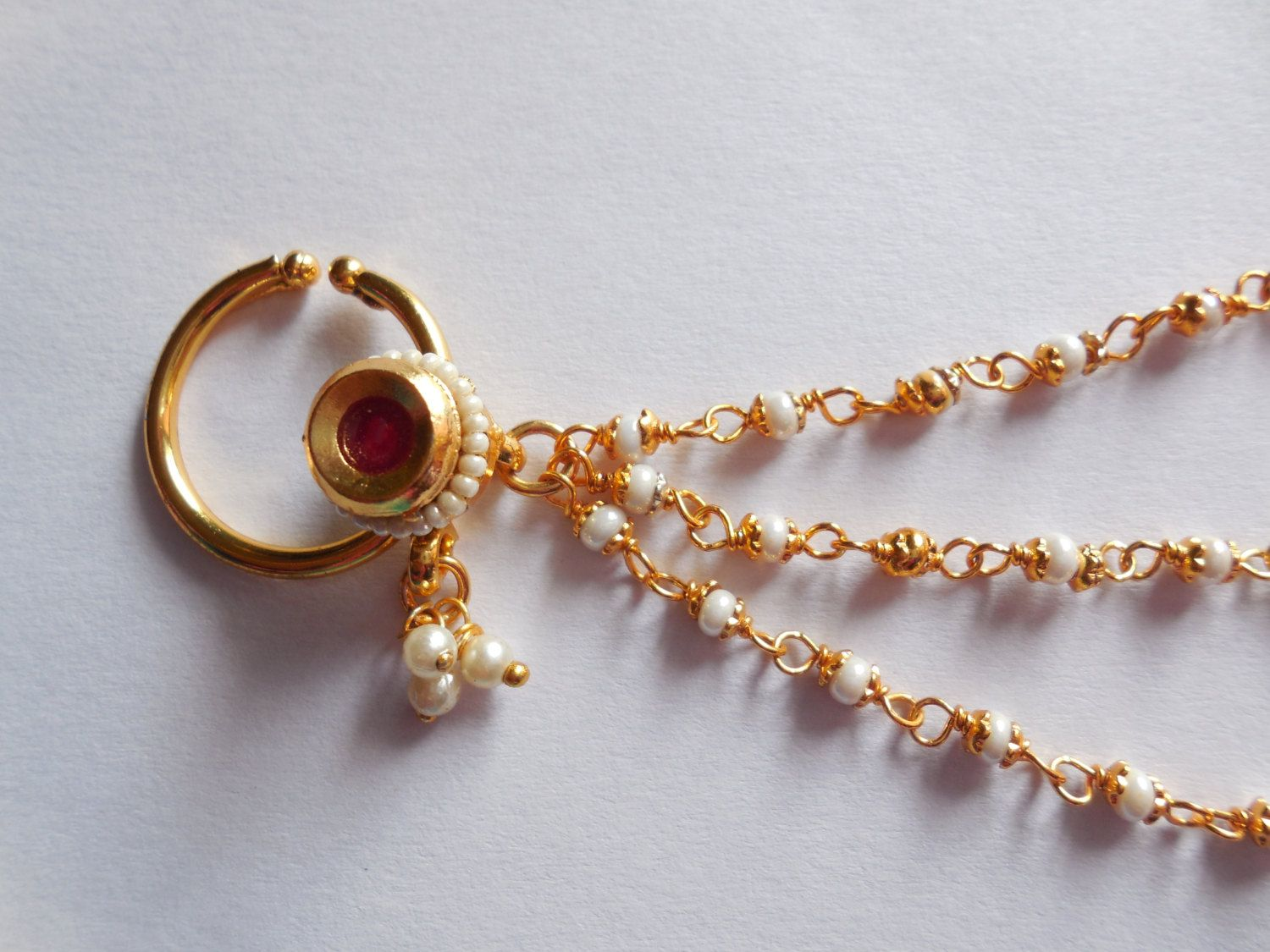 About nath nose ring mukku pudaka on pinterest jewellery gold nose - Beautiful Indian Nose Nath For Non Pierced Nose Bridal Nose Ring With Triple Beaded
