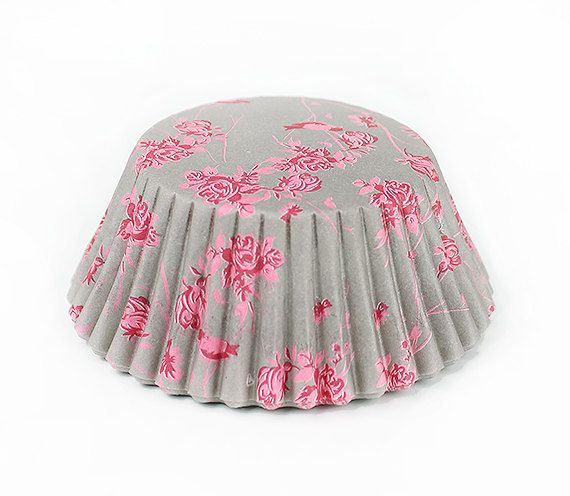 Gray & Pink Vintage Rose Cupcake Liners by eviespartyshoppe, $3.00