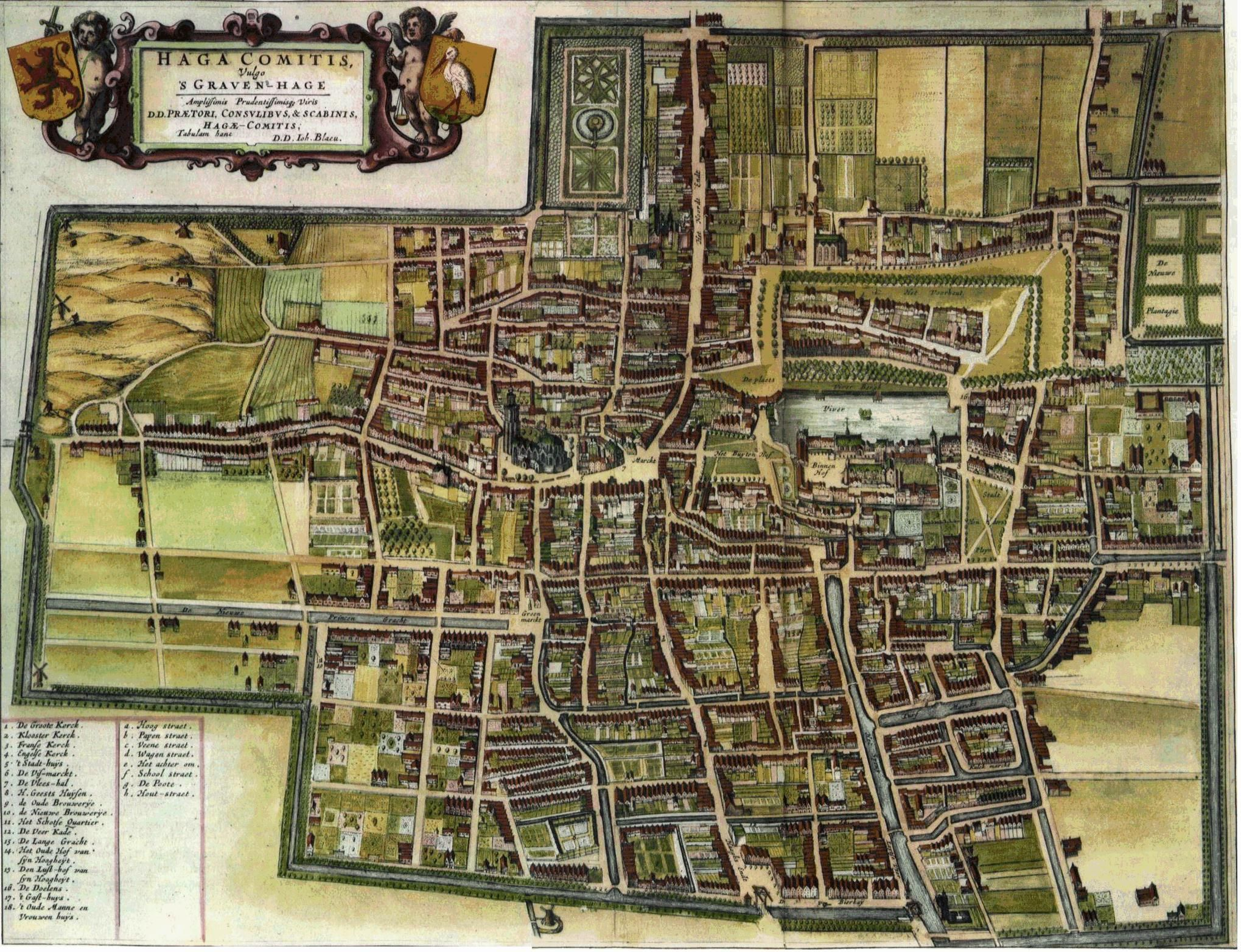 Map of The Hague Netherlands by J Blaeu 1650 used for The