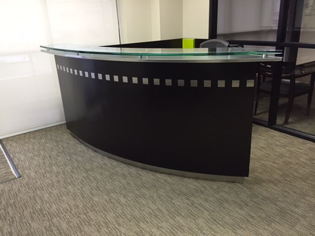 Stylish Modern Sleek Reception Desk In Our Used Office Furniture Inventory With A Dallas