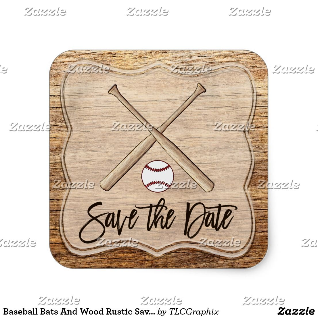 Baseball Bats And Wood Rustic Save The Date Square Sticker Wedding