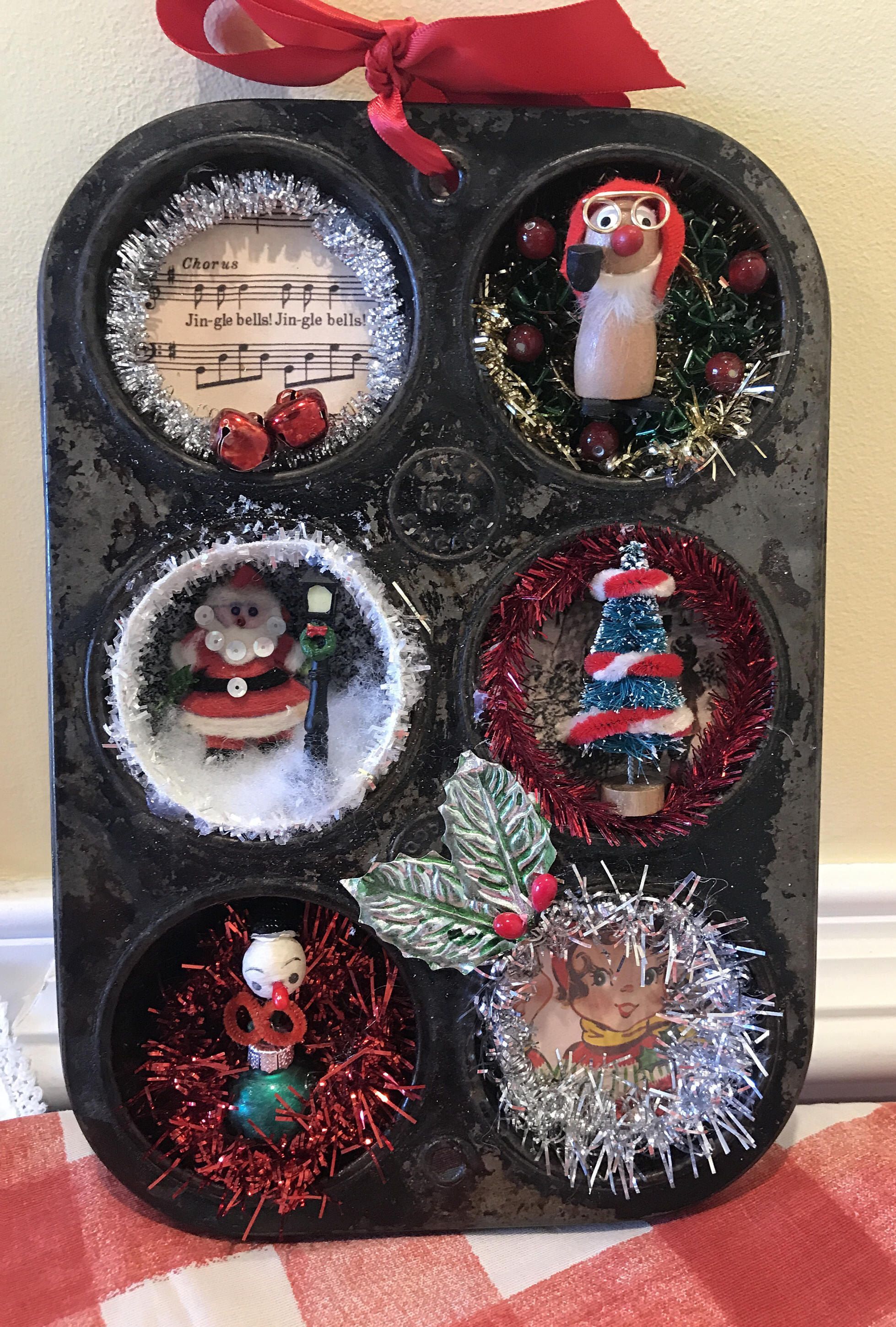 Vintage Baking Muffin Tin Christmas Vignette 1950s Retro Kitchen
