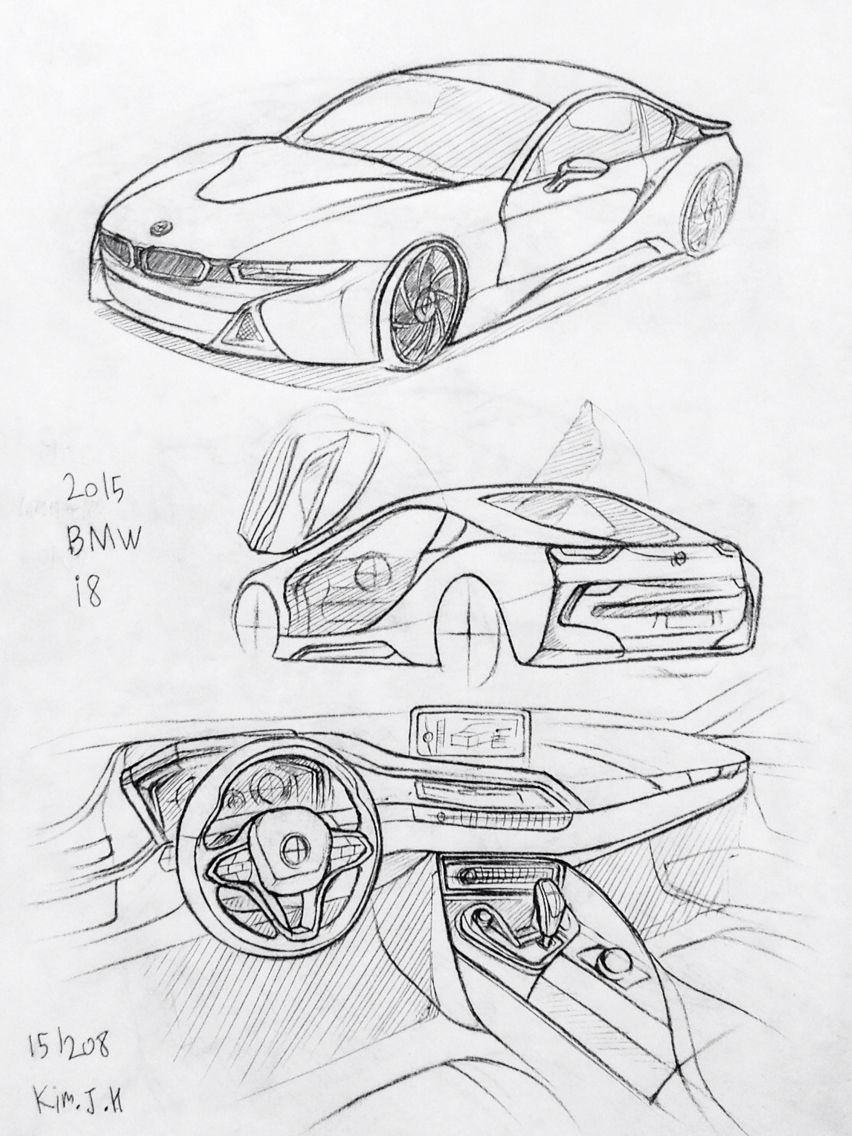 Car Drawing 151208 2015 Bmw I8 Prisma On Paper Kim J H Cars