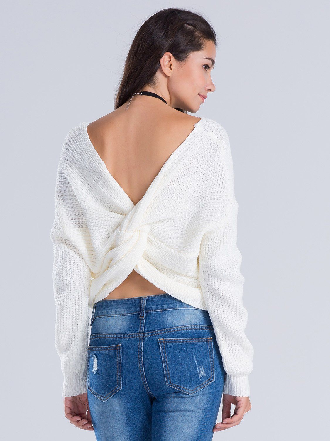 98c992df09a4ea V-neck Knot Twisted Back Long Sleeve Sweater