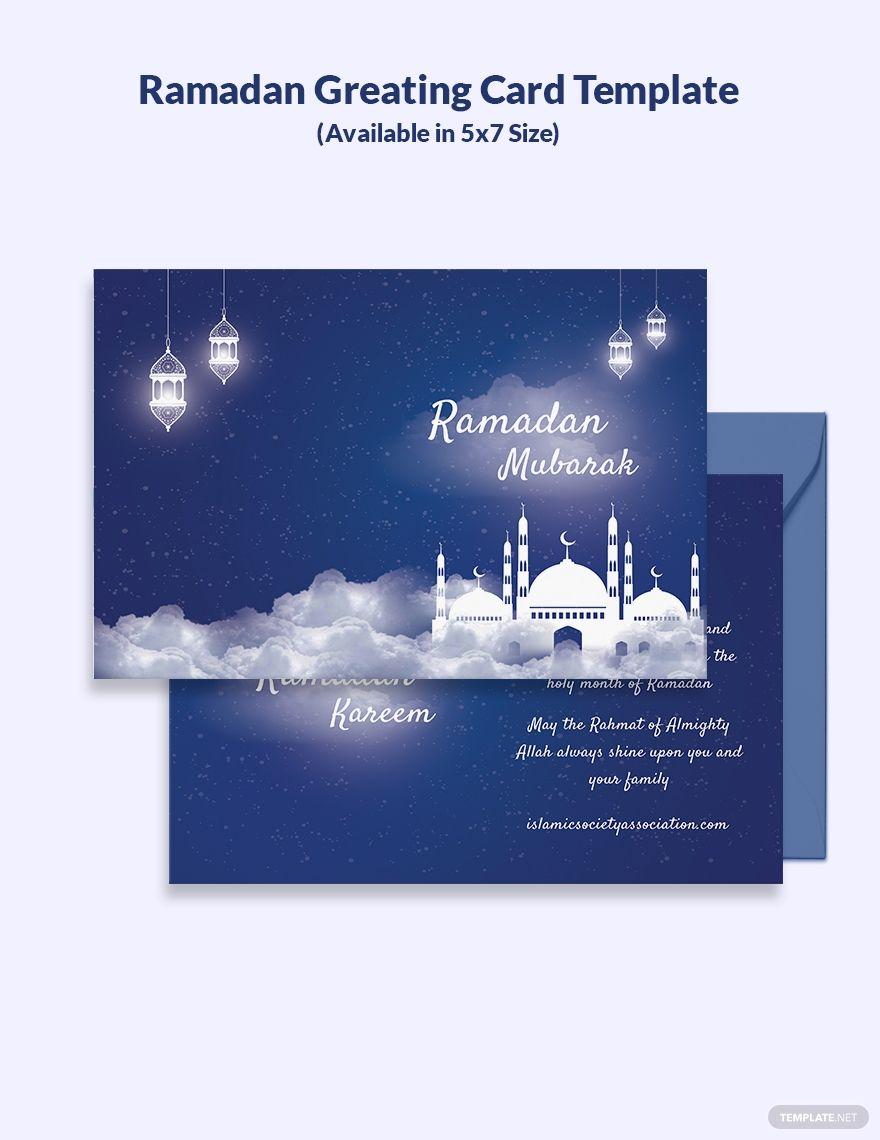 Ramadan Greeting Card Template Psd Illustrator Ramadan Greetings Greeting Card Template Card Template