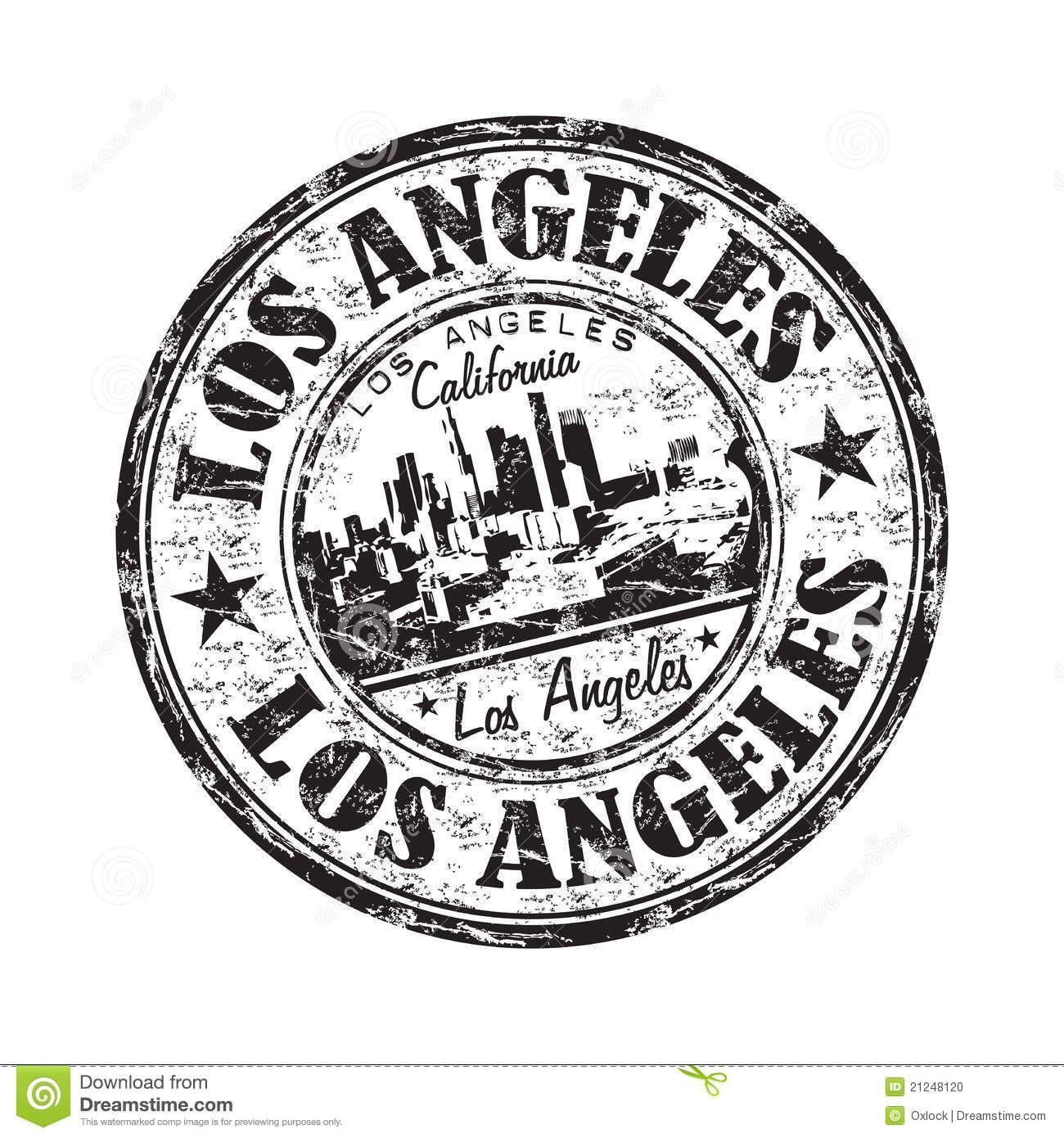Los Angeles Grunge Rubber Stamp