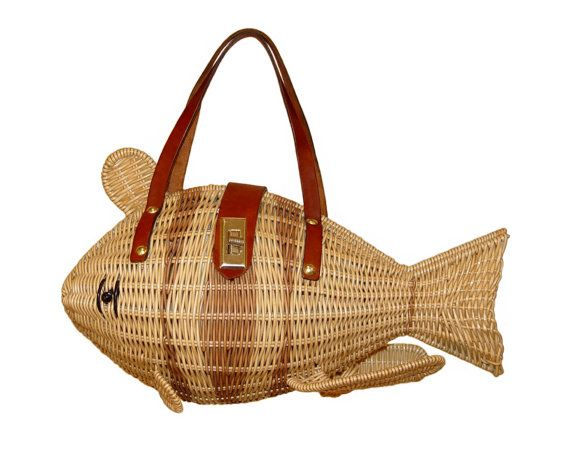 Figural Wicker Fish Handbag Simon Styled By Mr Ernest Collectible Vintage 1950s Made In Hong Kong Kawaii Style