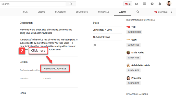 How To Find Someone S Email On Youtube Part2 Business Pages Find Someone Twitter Bio