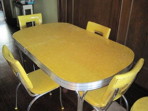1950 39 s tru chrome vintage chrome formica yellow dinnette table only lost and found. Black Bedroom Furniture Sets. Home Design Ideas