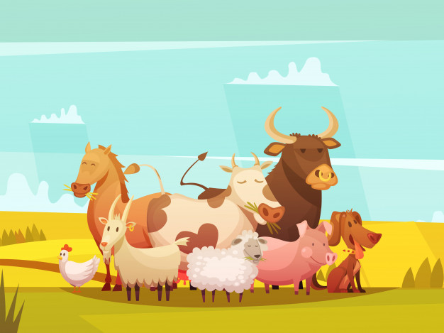 Download Farm Animals In Countryside Cartoon Poster for