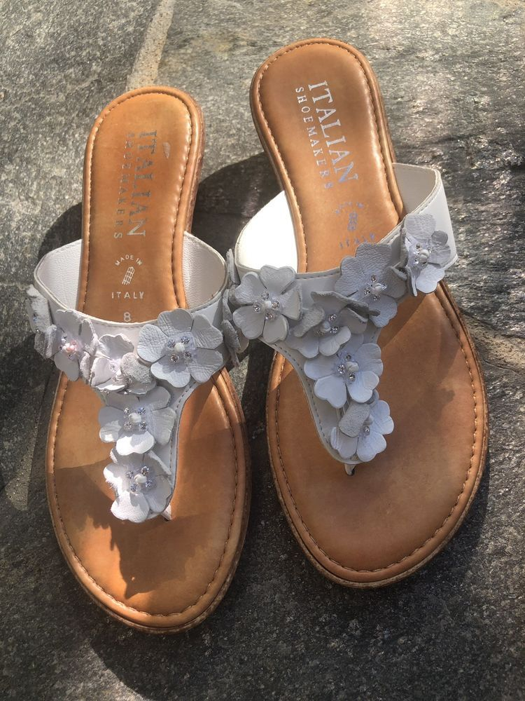 1df459081c2a Italian Shoemakers White with embellishment and Cork Size 8 Excellent   fashion  clothing  shoes  accessories  womensshoes  sandals (ebay link)