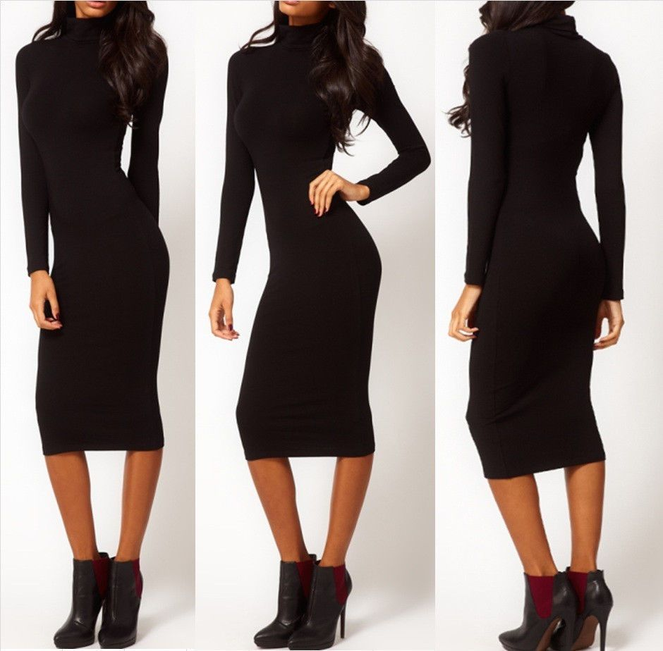Womens leisure long sleeve dress sexy slim kneelength pencil