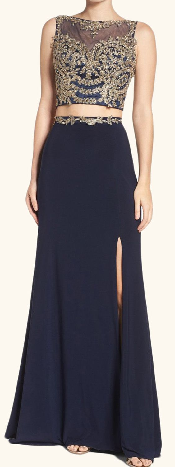 Two piece lace jersey long prom dress dark navy formal evening gown