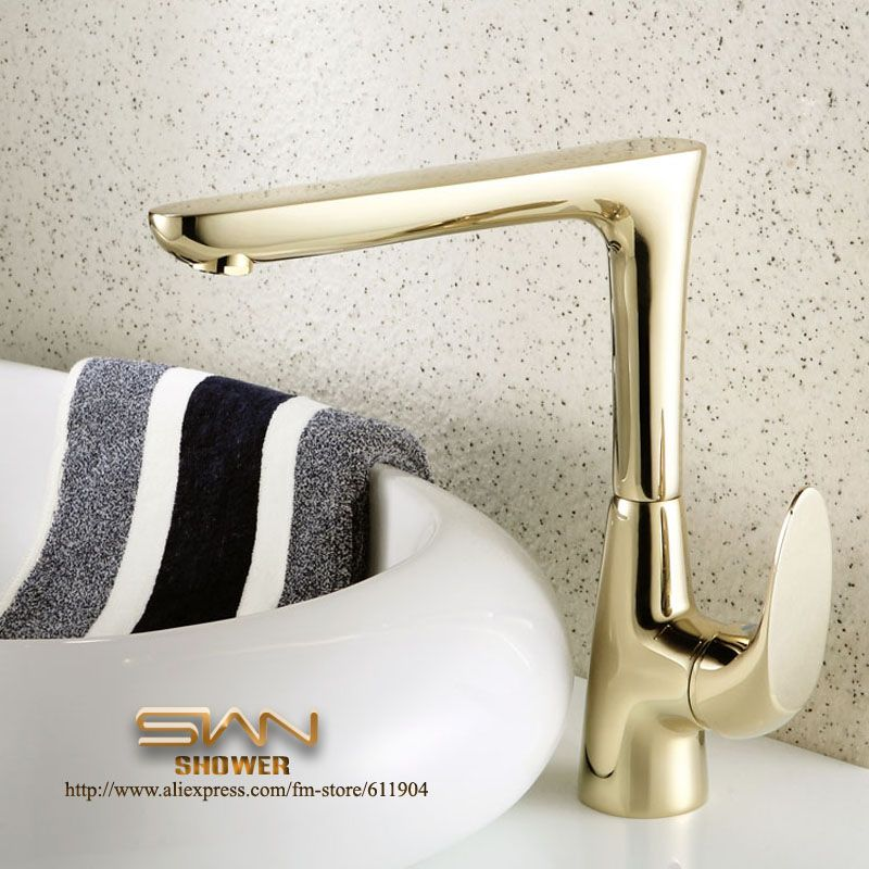 Luxury Gold Color Bathroom Faucet Basin Kitchen Sink Faucets Mixer - Gold colored bathroom faucets