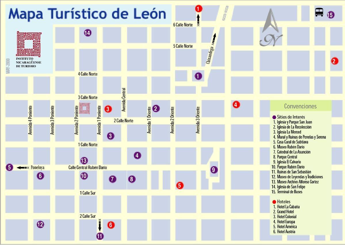 Leon Tourist Map Nicaragua 2 Ciudades Turisticas Ciudades