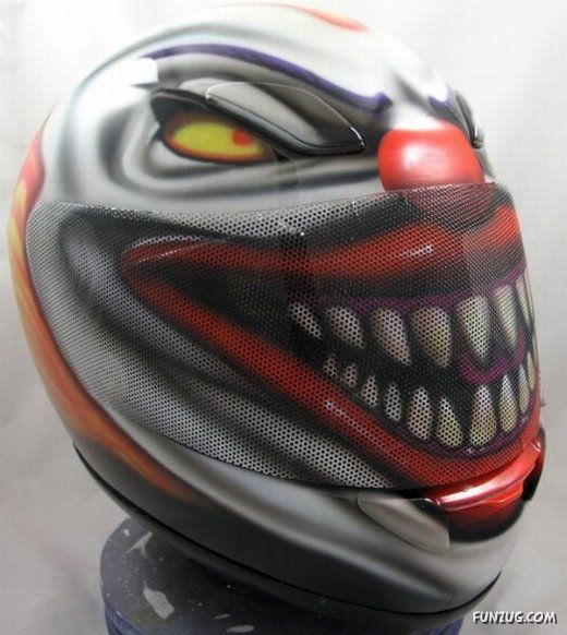 creepy clown motorcycle helmet