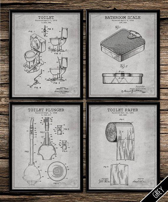 Vintage patent bathroom set patent print by UniquelyGiftedArt Art - best of golf blueprint art