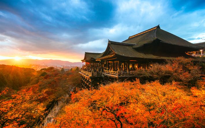 Lataa kuva Kiyomizudera-Temppeli, 4k, japanilainen maamerkkejä, syksy, sunset, Kioton, Japani