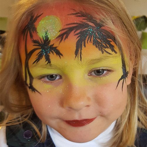 Kids Face Painting Tropical Holiday Sunset Island Theme Ideas