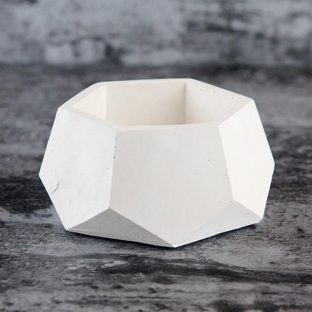 Cement Concrete Pot Silicone Mold Geometric Flowerpot Vase Handmade Tooling Art