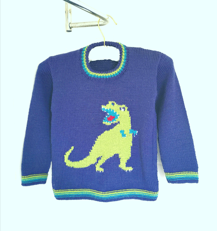 Knitting Pattern Dinosaur Child's Sweater T-Rex | Etsy ...