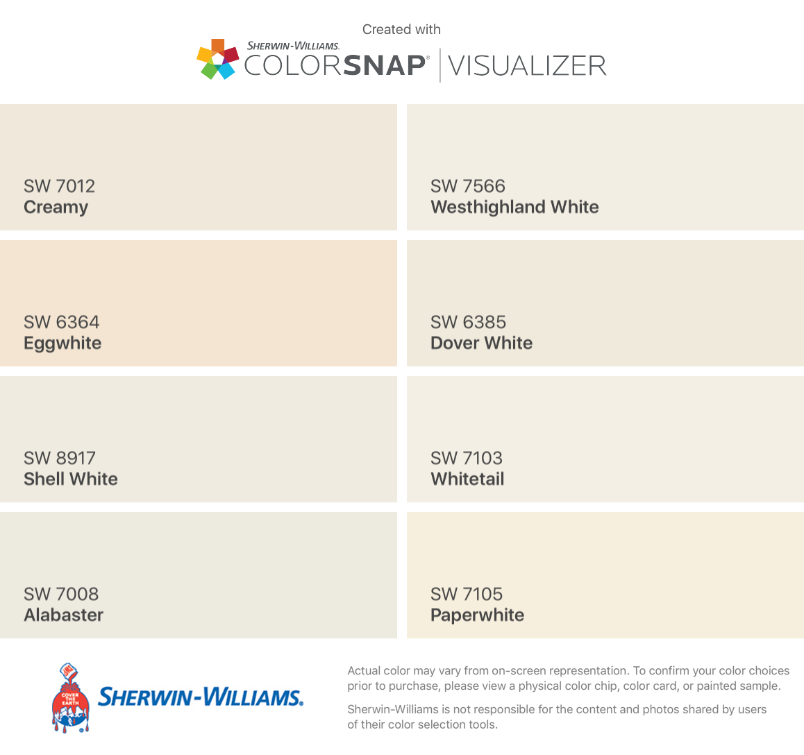 I Found These Colors With Colorsnap Visualizer For Iphone By Sherwin Williams Cre Sherwin Williams White