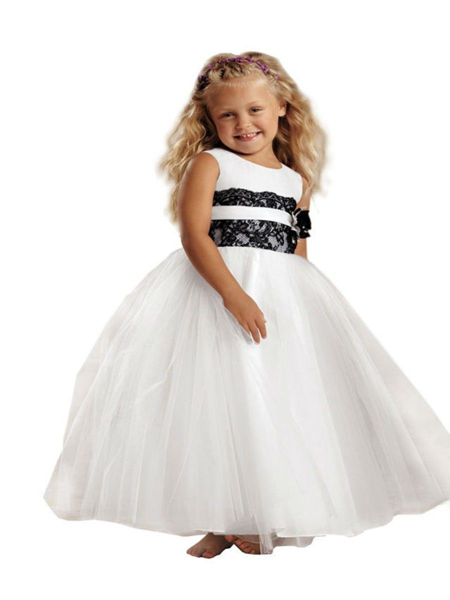 Black White Lace Tulle Princess Ball Gown Flower Girl Dresses