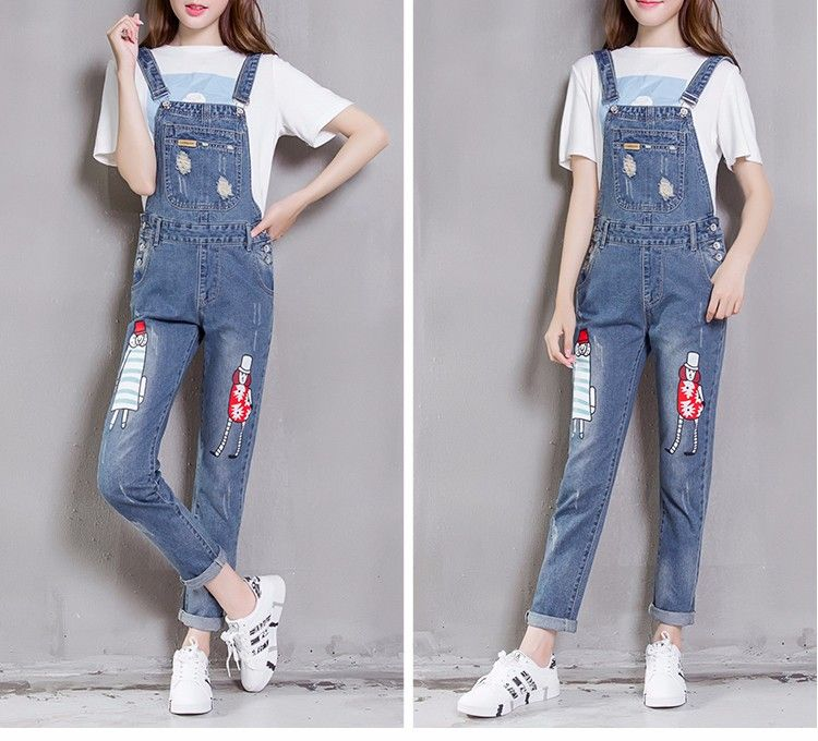 d69ccc8be50 Korean Fashion · Skinny · J8210  Ladies Jeans Top Design Skinny Printing Jeans  Pants Denim Jumpsuits Overalls Stocks - Buy