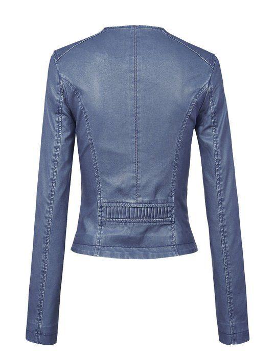 201e5917d MBJ WJC1015 Womens Collarless Faux Leather Washed Denim Moto Jacket ...