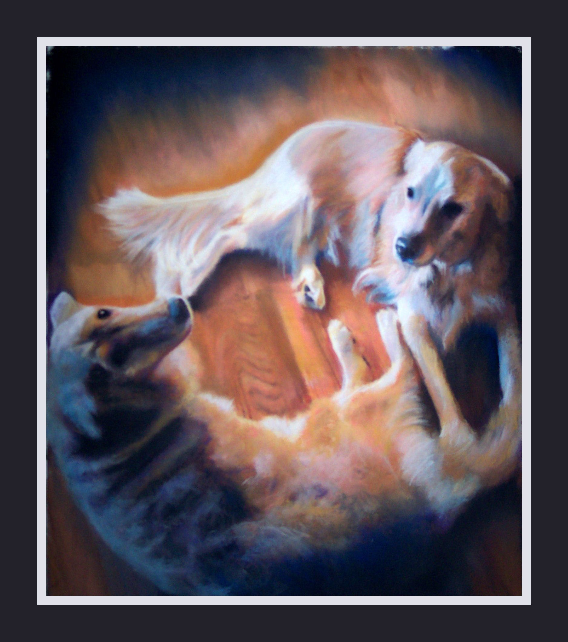 Two Labs, picture to painting, custom, gift, family present.