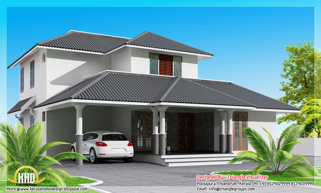 Square feet modern sloping roof house square feet bedroom for Sloped roof house plans in india