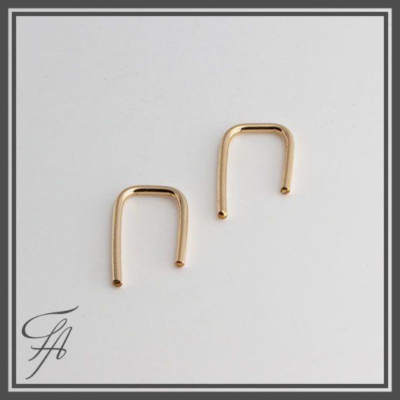 Staple Arc EarringsMinimalist Gold Arc by FashionArtJewelry