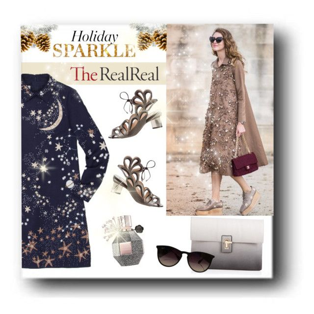"""""""Holiday Sparkle With The RealReal: Contest Entry"""" by veronica7777 ❤ liked on Polyvore featuring Valentino, Nicholas Kirkwood, Lipsy, Viktor & Rolf and Ray-Ban"""