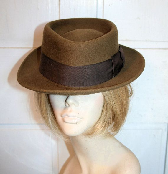 """Vintage """"Bailey"""" Pork Pie, Olive Brown Wool Fedora Hat large size 7-3/8, from Morning Glorious"""