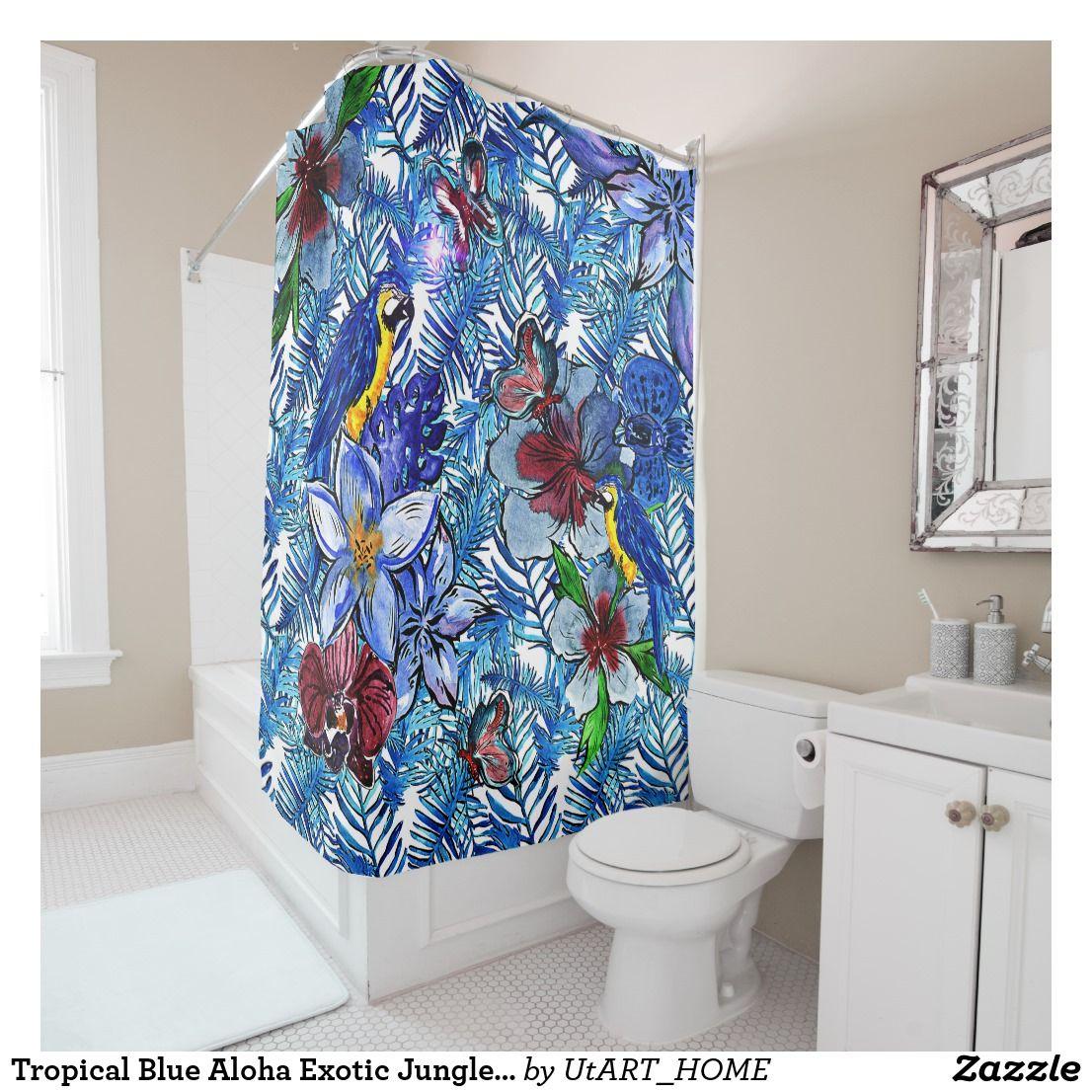 Accessoire Salle De Bain Jungle ~ tropical blue aloha exotic jungle parot flowers shower curtain