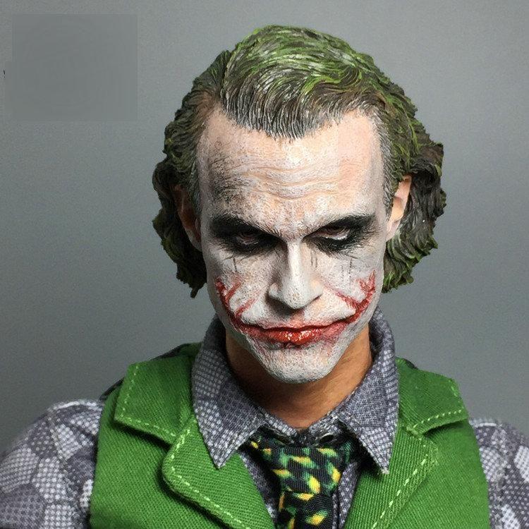 """1//6 Scale Batman Joker Head Sculpt Heath Ledger for 12/"""" Action Figures Body"""