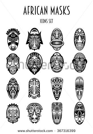 Set Of African Ethnic Tribal Masks Siluetes On White Background