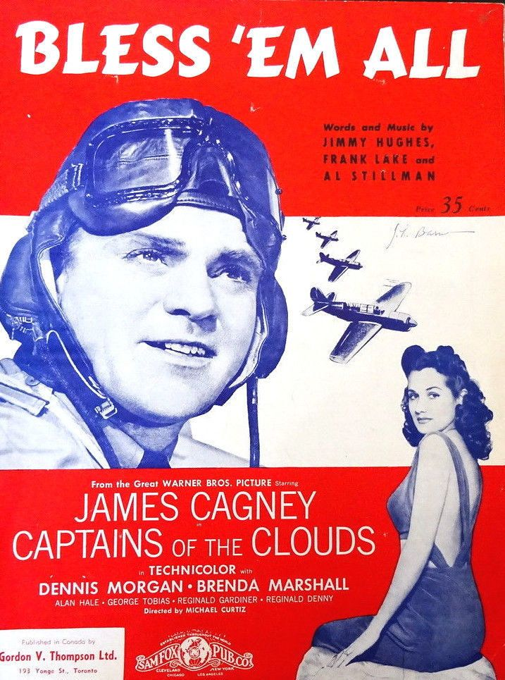Bless 'Em All Captains of the Clouds Vintage Sheet Music 1940 WWII Military #vintagesheetmusic