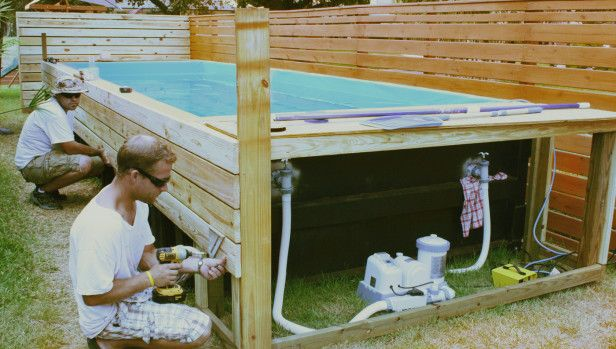 A Swimming Pool Crafted From A Dumpster Hgtv Gardens Habillage Piscine Hors Sol Decorer Piscine Hors Sol Amenagement Piscine