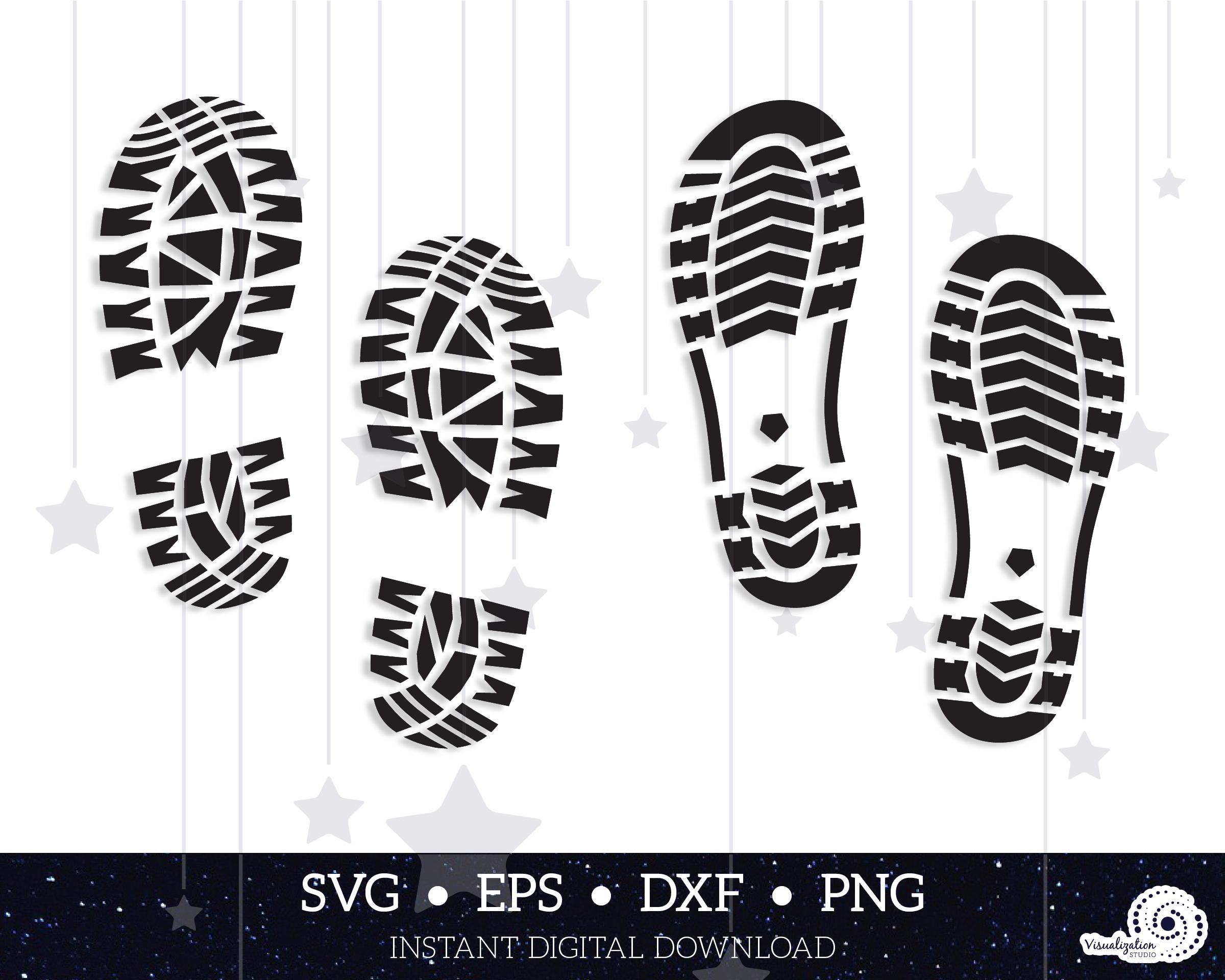 Boot Prints Vector Set Instant Digital Download Svg Etsy Boot Print Svg Free Boots