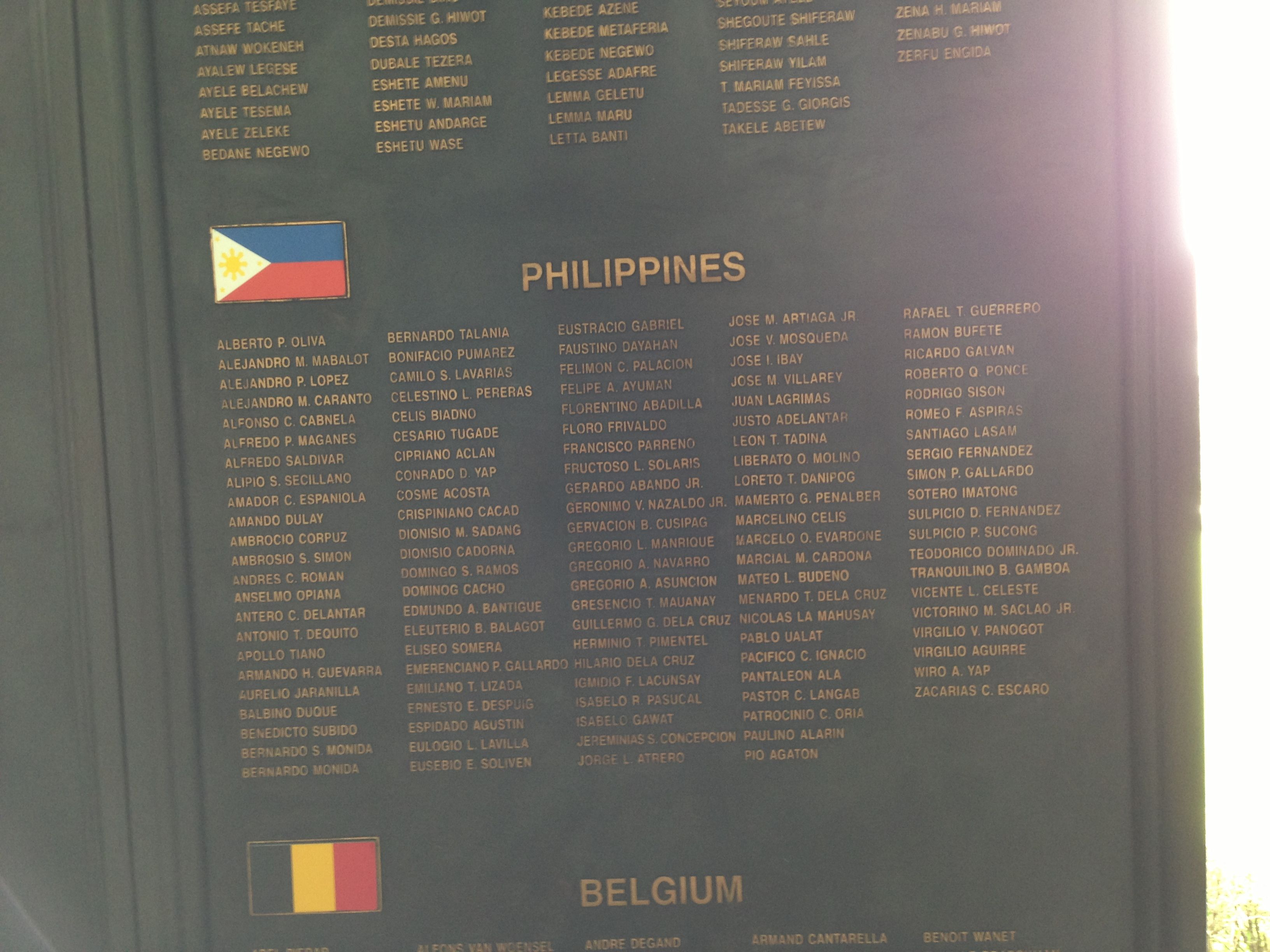 Names Of The Filipino Soldiers Who Joined The Un Coalition Soldiers In The Korean War Korean War War Memorial War