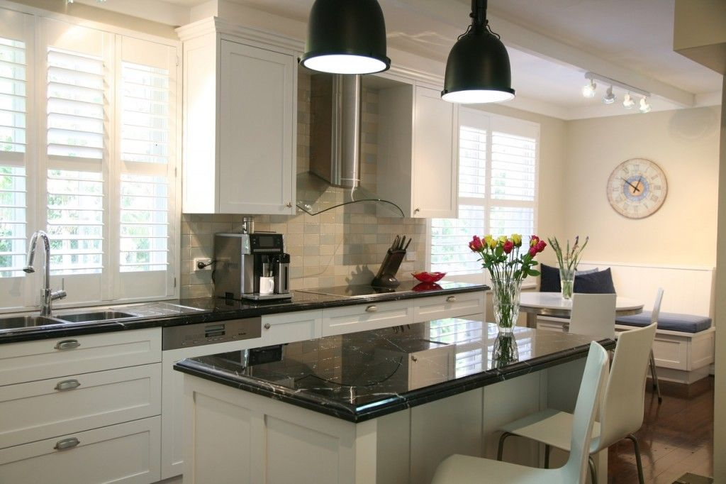 Black and white Hamptons style kitchen with